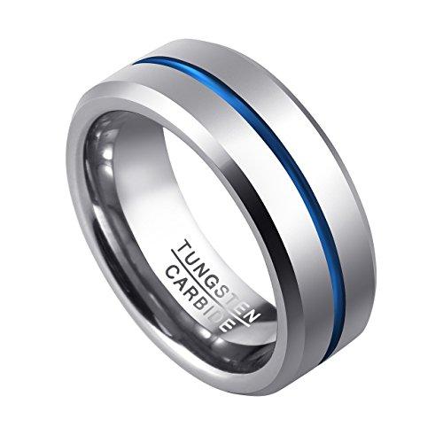 PiercingJ Herren Wolframcarbid Wolfram Ring Tungsten Ring Ehering Hochzeitsring Wedding Band Ring 8mm, silber+blau, Gr.57-67(US12 = 68 (21.6mm)) (Herren Silber-wolfram-ringe)