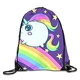 gthytjhv Drawstring Bag Unicorns Rainbow Rucksack for Gym Hiking Travel Customized Color 07 Lightweight Unique 16.9x14.2
