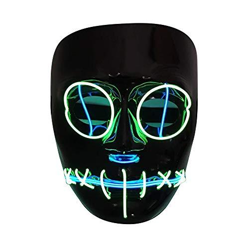 SOUTHSKY LED Maske Schwarz Gesicht Augen Entladungsmaske EL Draht Leuchten Für Halloween Kostüm Cosplay Party (Schwarz Gesicht Halloween Kostüme)