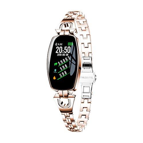 Muamaly Fitness Armband mit Pulsmesser, Fitness Tracker Blutdruckmessung Wasserdicht Ip67 Farbbildschirm Aktivitätstracker Uhr Smartwatch Pulsuhren Schrittzähler für Damen Herren (Rose Gold)