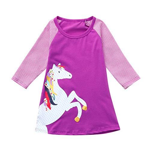 d-Mädchen Langarm Herbst Karikatur Prinzessin T-Shirt Kleid 2-6T (Hot Pink, 7T) ()