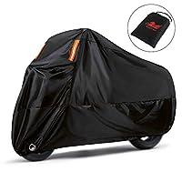 """غطاء الدراجة النارية WinPower مقاوم للماء في الهواء الطلق غطاء دراجة الثلج متوافق مع Harley Davidson Honda Suzuki Kawasaki Yamaha and All Motors, 116.6 x 43.2 x 55.7 """", 4XL"""