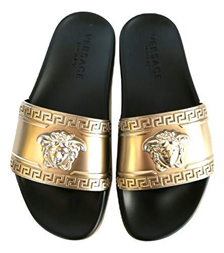 Versace ,  Unisex-Erwachsene Pantoffeln, Gold - Goldfarben/Schwarz - Größe: 41.5 EU