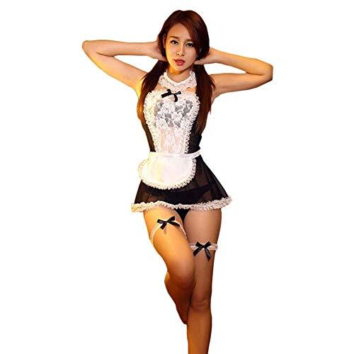 ACZZ Sexy dessous bogen spitze dessous frauen französisch maid cosplay sexy dessous hot transparent kostüme erotische schöne maid kostüme damen nachtwäsche versuchung underwear