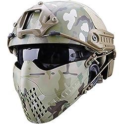 TRULIL Respirant Tactique Paintball Métal Mesh Système de Bandeau bimode Navigator Masque Camouflage Masque de Protection Tactique extérieure