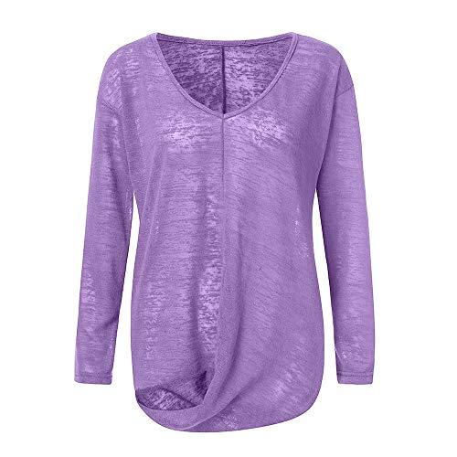 Pullover Sweatshirt für Damen,Kobay 2019 Halloween Heiligabend Weihnachten Frauen Pure V Ausschnitt Langarm Unregelmäßige Bluse Shirt Blusen T Shirt Tops Sweater - Eyelet Tunic Top