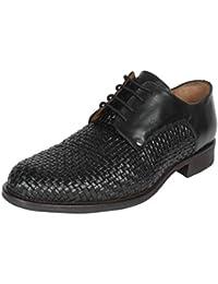 Salt N Pepper Mix Black 100% Genuine Leather Men Lace Up Shoes