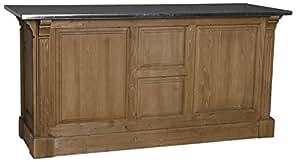 Comptoir 191x68x95 cm plateau zinc 3 tiroirs 2 portes 1 niche avec étagère. - meuble personnalisable
