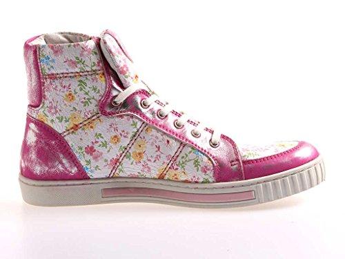 Bei Piedi Alti Sneaker Stivaletti Scarpe Di Cuoio Colorato 713 Fuchia