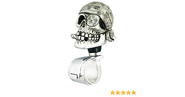 Silver Abfer Suicide Knob Car Steering Wheel Power Turning Assist Spinner Helper Pirate Skull Shape Fit Vehicles Trucks Boats