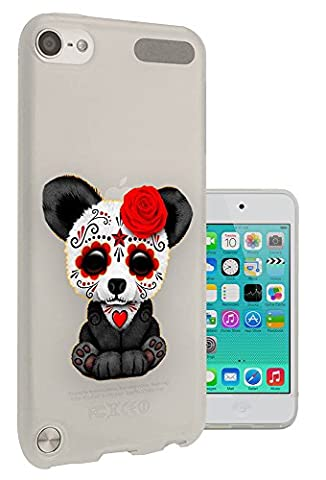 c1047 - Cool Emo Panda Sad Face Red Flower Face Paint Tattoo Design Apple ipod Touch 5 Fashion Trend Protecteur Coque Gel Rubber Silicone protection Case Coque