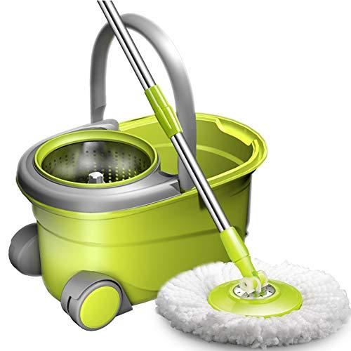 Qaq multi-funzione mop con telaio di scarico in acciaio inox asta regolabile testina in cotone microfibra rotazione a 360°,green,onesize