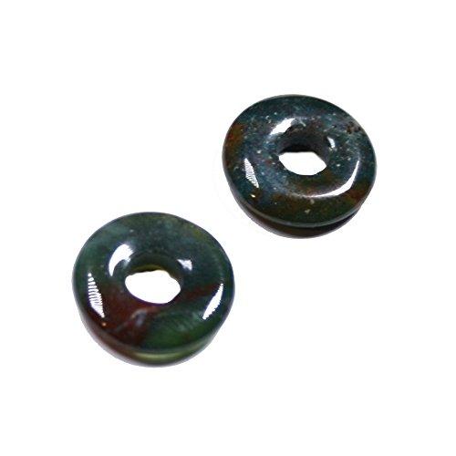 2 Donut Heliotrop ca.15 mm Donut Lochdurchmesser ca. 5 mm Stärke 3 mm