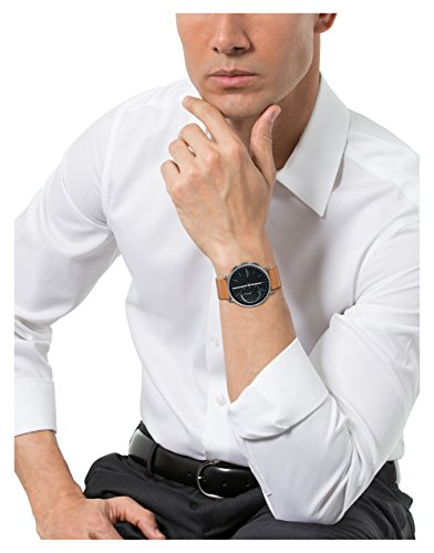 Skagen Mens 42mm Hagen Connected Titanium And Brown Leather Hybrid Smart Watch