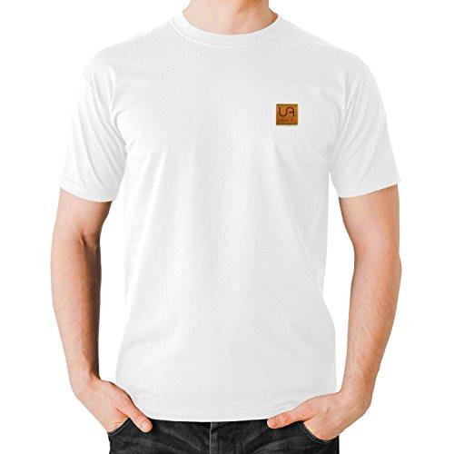 urban air StyleFit   T-Shirt Basic   Herren   Sport und Freizeit   95% Baumwolle, Leder-Patch, Kurzarm   Weiß, Schwarz, oder Hell/Dunkel Grau   S, M, L, XL (M, O-Neck Weiß) (Weiß-navy-leder)