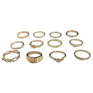 ZYUEER Modetrend Metall Retro Gold 12 Stück Set Joint Ring Schmuck
