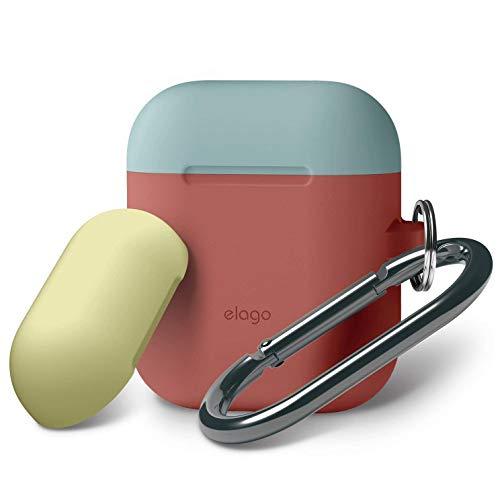 elago AirPods Tasche Duo Hang Silikonhülle mit karabiner für Apple AirPods Aufladen Case (Body-Italienische Rose/Top-Coral Blau, Gelb)