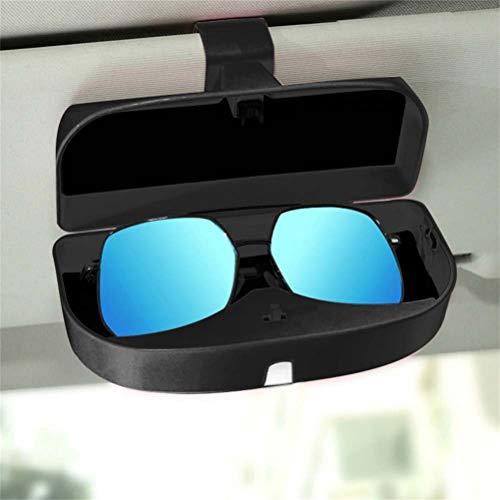 ZOOENIE Brillenetui für Auto Sonnenblende,Brillenetui Käfig mit Kartenkarten Clip und Magnetischer Funktion,Universal Sonnenbrille Halter, Brillenfach, Karteneinschub (Schwarz)