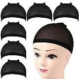 FANDAMEI 6 Pcs Black Nylon Stocking Caps - Elastic Stretchy Nylon Stocking Wig Cap for Women, Unisex Nylon Stretch Wig Cap with Close End for Men and Women