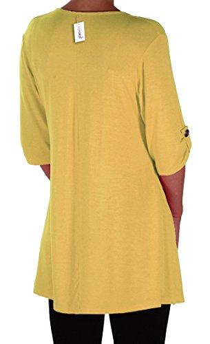 EyeCatch Plus - Tunique basique col en V - Shellie - Femme - Grandes Tailles Jaune