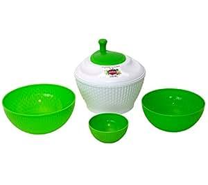 Tick Set Asciuga insalata DRI + 3 ciotole Bambu - Polipropilene - Lavabile in lavastoviglie - Peso leggero, dimensioni compatte e impilabile - Colore bianco/verde