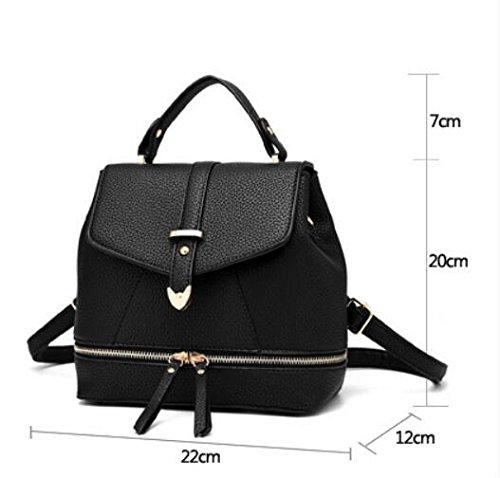 LDMB Damen-handtaschen PU Leder Casual Studentin magnetischen fangen Rucksack Schulter Messenger Handtasche Black