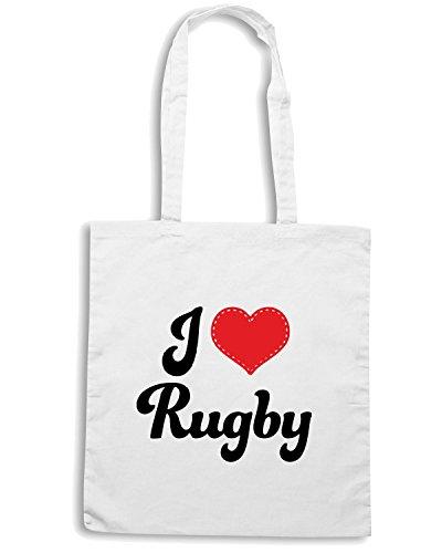 T-Shirtshock - Borsa Shopping TRUG0025 i love rugby5 logo Bianco