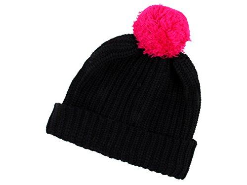 Wollmütze schwarz pink Strickmütze Wintermütze Bommelmütze - Baumwolle, warm & stylisch - SM-45g von ALSINO