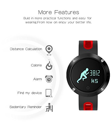 Fitness Trackers Activity Tracker Pedometer Watch With Heart Rate Monitor And Blood Pressure Monitor Touch Screen Smartwatch For Android And IOS Smartphone DM58 Red