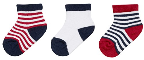 Playshoes Unisex Baby Socken Erstlingssocken Geringelt, 3er Pack, 0-3 Monate, Mehrfarbig (Original 900), One size (Herstellergröße: 0-3M)