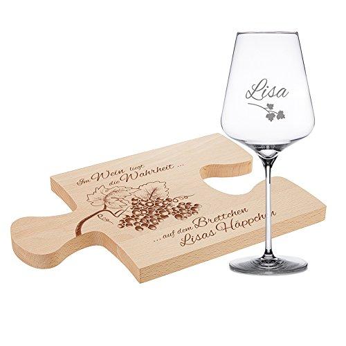 Casa Vivente 2er Set Puzzlebrett und Weinglas mit Gravur für Genießer – Personalisiert mit...