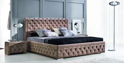 Design Luxus Lounge Polsterbett Doppelbett Futon-Bett Stoff Braun SL20 NEU!
