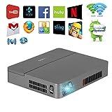 3D DLP Videobeamer Full HD Projektor 1080p 720p Android Bluetooth WLAN WiFi 2000 ANSI Lumen unterstützt Apps HDMI VGA USB TF-Karte kompatibel mit Laptop Smartphone DVD PS4/PS3 Tablett PC