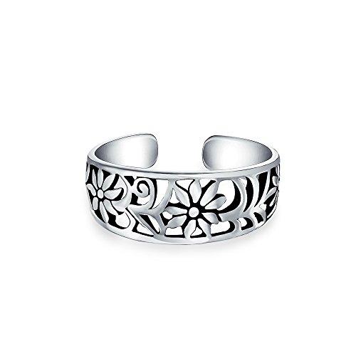 Blumen Wünschte Swirl Ausschneiden Filigraner Midi-Band Zehe Ringe Für Damen 925 Sterling Silber Te Finger Einstellbar