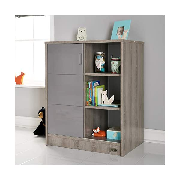 Obaby Madrid Storage Unit - Eclipse Obaby Left side offers the option of a hanging rail and shelf or three shelves Right side has 3 fixed shelves Option to add the removable changing top to turn into a changing unit 1