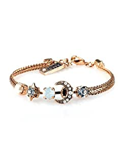 Israeli Amaro Jewelry Studio 'Pearl Gem' Collection 24K Rose Gold Plated Bracelet with Star and Crescent Moon Embellishments Set with Faux Pearls, Opal, Moonstone, Swarovski Crystals