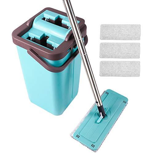 Secchio piatto Mop Set Sistema di pulizia della benna con 4 mop pad piatti lavabili in microfibra per la casa Bagno / Cucina / Angolo ufficio Pulizia di tutti i pavimenti