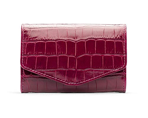 SageBrown Pink Croc Small Concertina Purse - Co Womens Stud