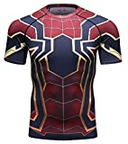 LSLRY T-Shirts de Sport Homme,Spider-Man 3D Impression T-Shirt Compression T-Shirts de Fitness à séchage Rapide,M