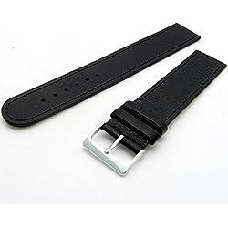 Super long Men's XXL Leather Watch Band Strap Buffalo Grain 24mm Black Chrome (Silver Colour) buckle
