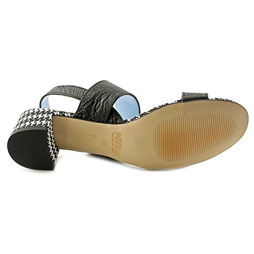 Studio Pollini Patterned Heel Femmes Cuir Sandales Compensés Black