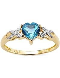 Colección Anillo Topacio Azul: 9ct Oro 1.00Ct Corazón, Anillo Compromiso con Topacio Azul