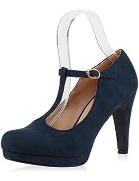 Damen Pumps Mary Janes Spangenpumps High Heels T-Strap Veloursleder-Optik Schuhe Abendschuhe Samt-Optik Lack Jennika
