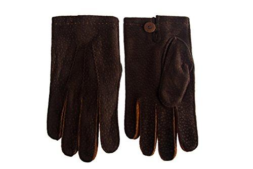 Gants de cuir Carpincho pour Hommes Noir Cachemire doublé Cousu à la Main Marron Foncé Marron Foncé