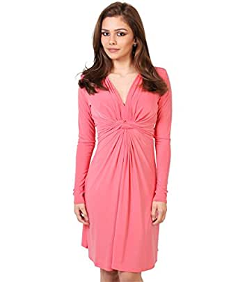 9878-Coral-8: Knot Front Dress