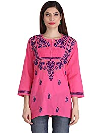 ADA Lucknowi Chikankari Handmade Womens Cotton Top Tunic Dress A226697