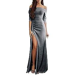 Vestido de Noche Mujer Elegante Maxi Vestido Cóctel Fiesta con Hombros Descubiertos Sexy Talla Grande Vestido Largo de Fiesta Gusspower
