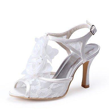 Wuyulunbi@ Scarpe donna Lace Primavera Estate della pompa base Wedding scarpe tacco a cono Peep toe Applique per la festa di nozze & Evening White Bianco