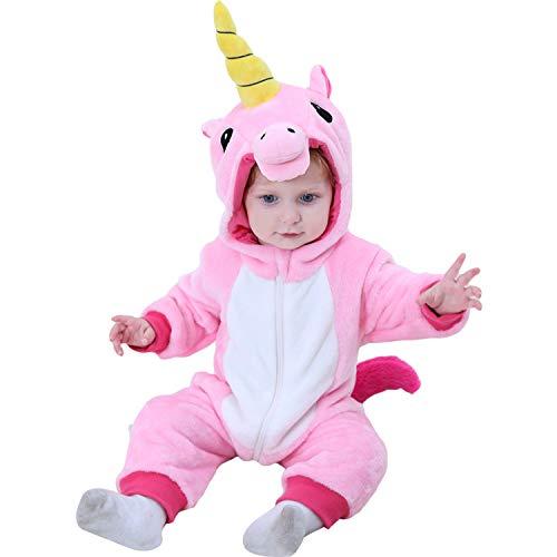 Unisex Baby Einhorn Overall Kostüm Fluffy Baby Mädchen Onesie Pyjama Halloween Kostüm
