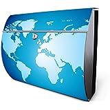 banjado - Design Briefkasten aus Edelstahl 38x30,5x13,5cm mit Zeitungsrolle und Motiv Weltkarte